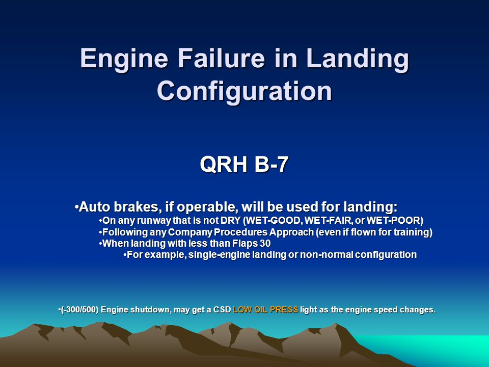 Engine Failure in Landing Configuration