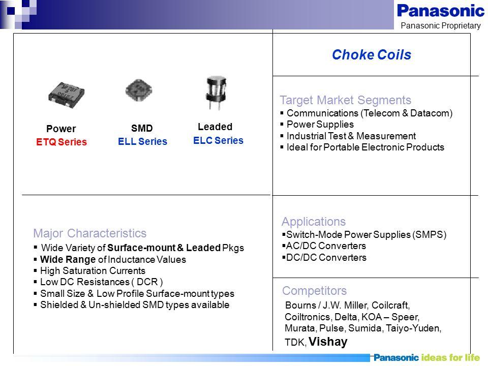 Choke Coils Target Market Segments Applications Major Characteristics