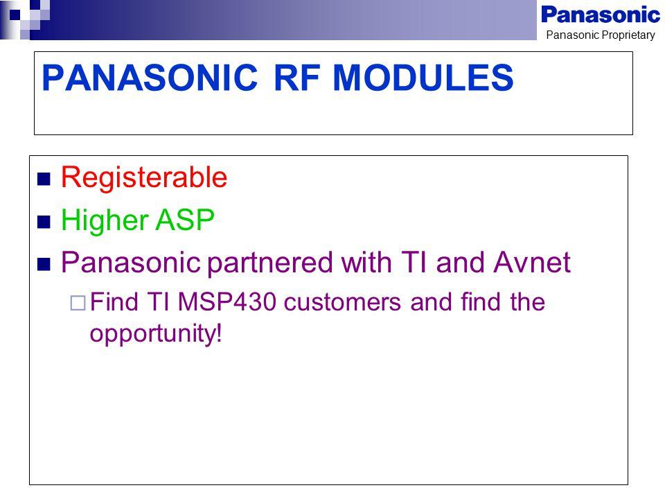 PANASONIC RF MODULES Registerable Higher ASP
