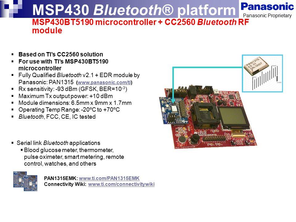 MSP430 Bluetooth® platform MSP430BT5190 microcontroller + CC2560 Bluetooth RF module