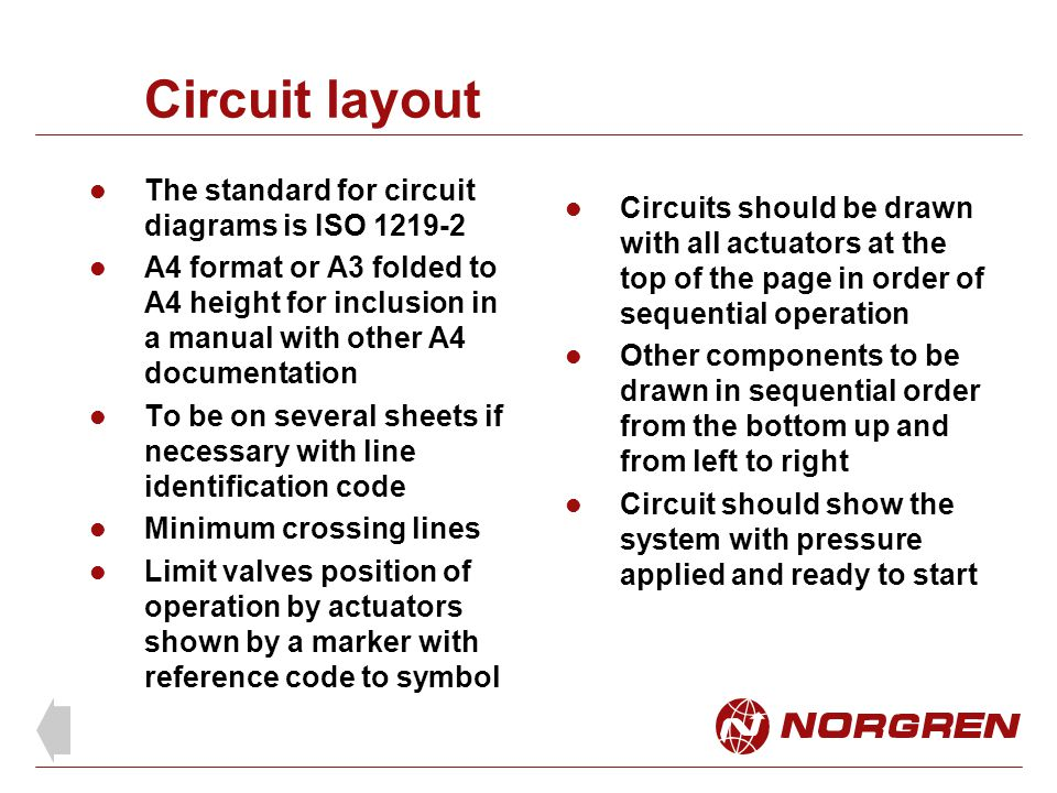 Circuit layout The standard for circuit diagrams is ISO 1219-2