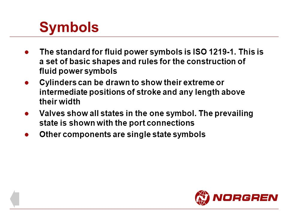 Symbols The standard for fluid power symbols is ISO 1219-1. This is a set of basic shapes and rules for the construction of fluid power symbols.