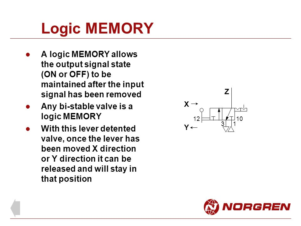 Logic MEMORY A logic MEMORY allows the output signal state (ON or OFF) to be maintained after the input signal has been removed.