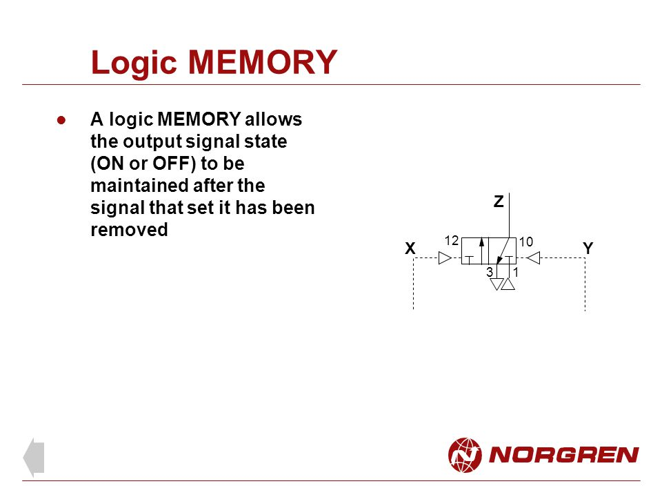 Logic MEMORY A logic MEMORY allows the output signal state (ON or OFF) to be maintained after the signal that set it has been removed.