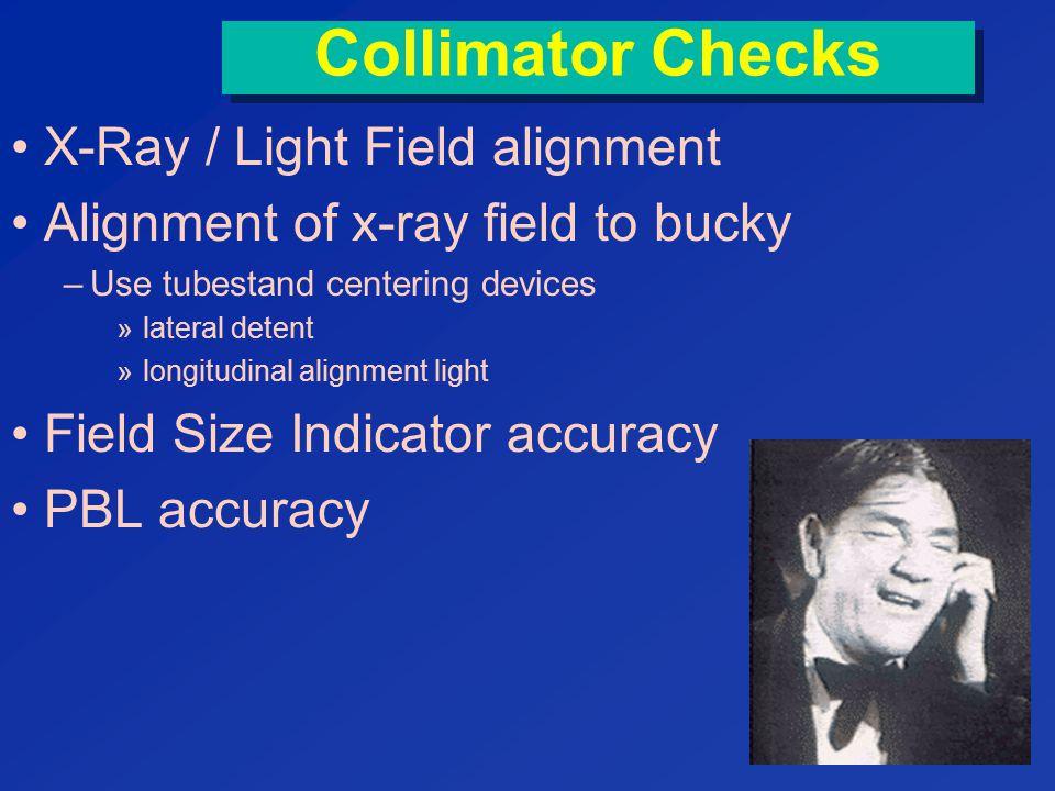 Collimator Checks X-Ray / Light Field alignment