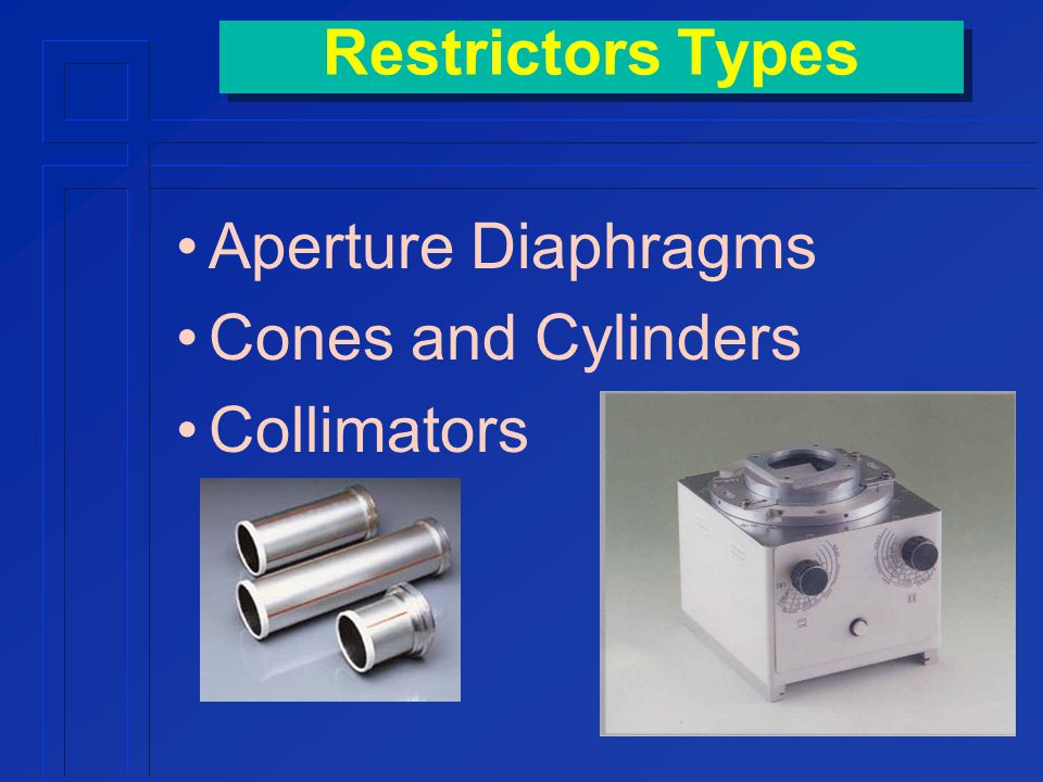 Restrictors Types Aperture Diaphragms Cones and Cylinders Collimators