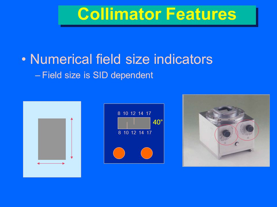 Collimator Features Numerical field size indicators