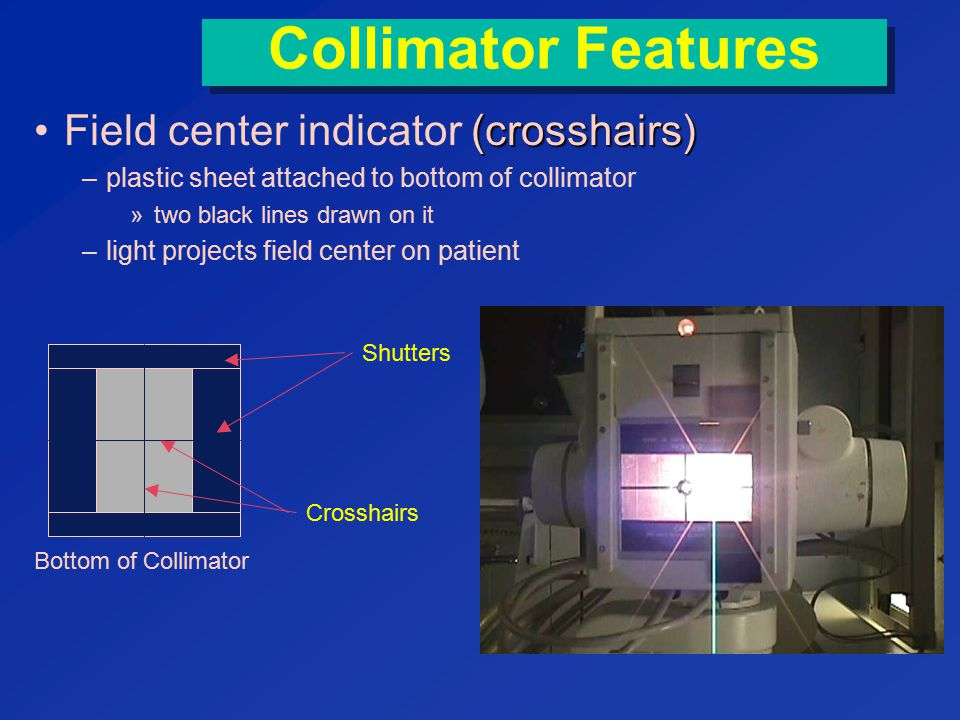 Collimator Features Field center indicator (crosshairs)
