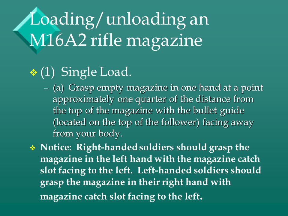 Loading/unloading an M16A2 rifle magazine