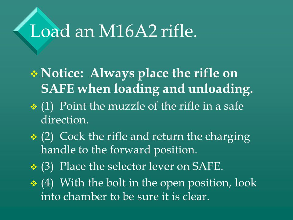 Load an M16A2 rifle. Notice: Always place the rifle on SAFE when loading and unloading. (1) Point the muzzle of the rifle in a safe direction.