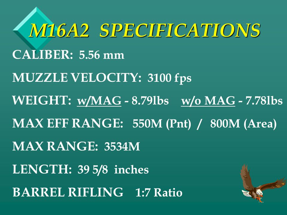M16A2 SPECIFICATIONS CALIBER: 5.56 mm MUZZLE VELOCITY: 3100 fps