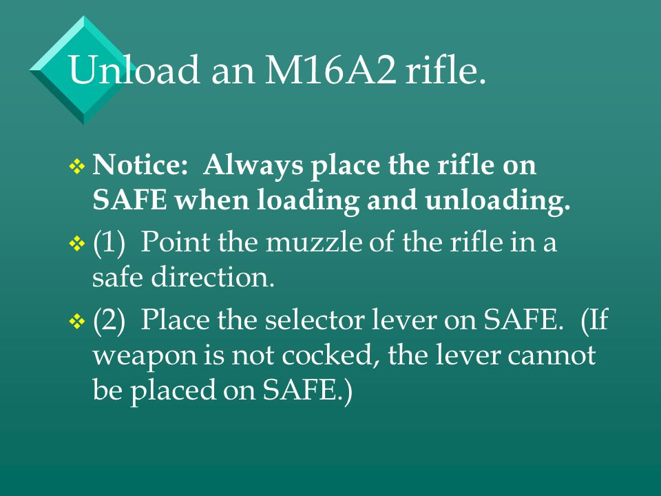Unload an M16A2 rifle. Notice: Always place the rifle on SAFE when loading and unloading. (1) Point the muzzle of the rifle in a safe direction.