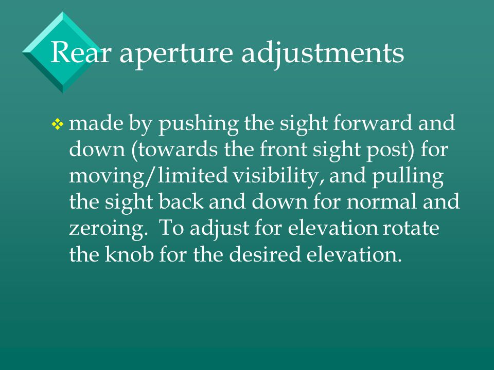 Rear aperture adjustments