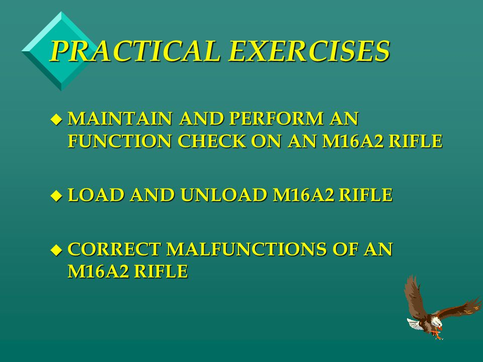 PRACTICAL EXERCISES MAINTAIN AND PERFORM AN FUNCTION CHECK ON AN M16A2 RIFLE. LOAD AND UNLOAD M16A2 RIFLE.