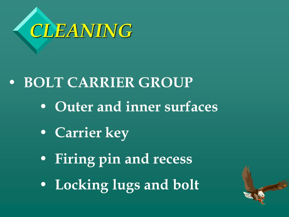 CLEANING BOLT CARRIER GROUP Outer and inner surfaces Carrier key