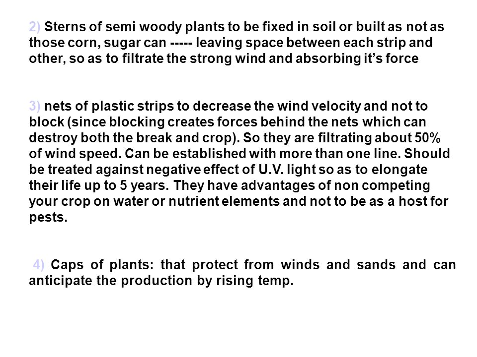 2) Sterns of semi woody plants to be fixed in soil or built as not as those corn, sugar can ----- leaving space between each strip and other, so as to filtrate the strong wind and absorbing it's force
