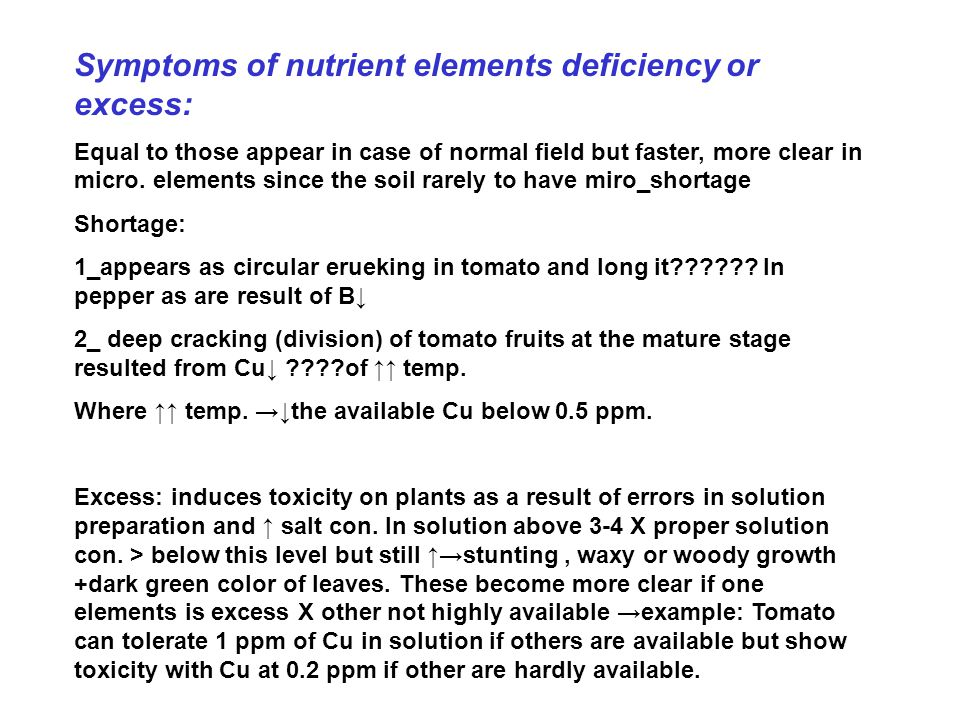Symptoms of nutrient elements deficiency or excess: