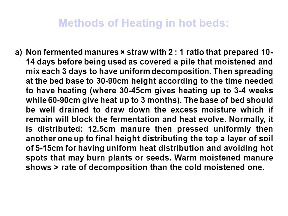Methods of Heating in hot beds: