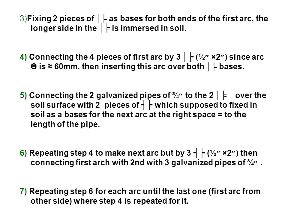 3)Fixing 2 pieces of │╞ as bases for both ends of the first arc, the longer side in the │╞ is immersed in soil.