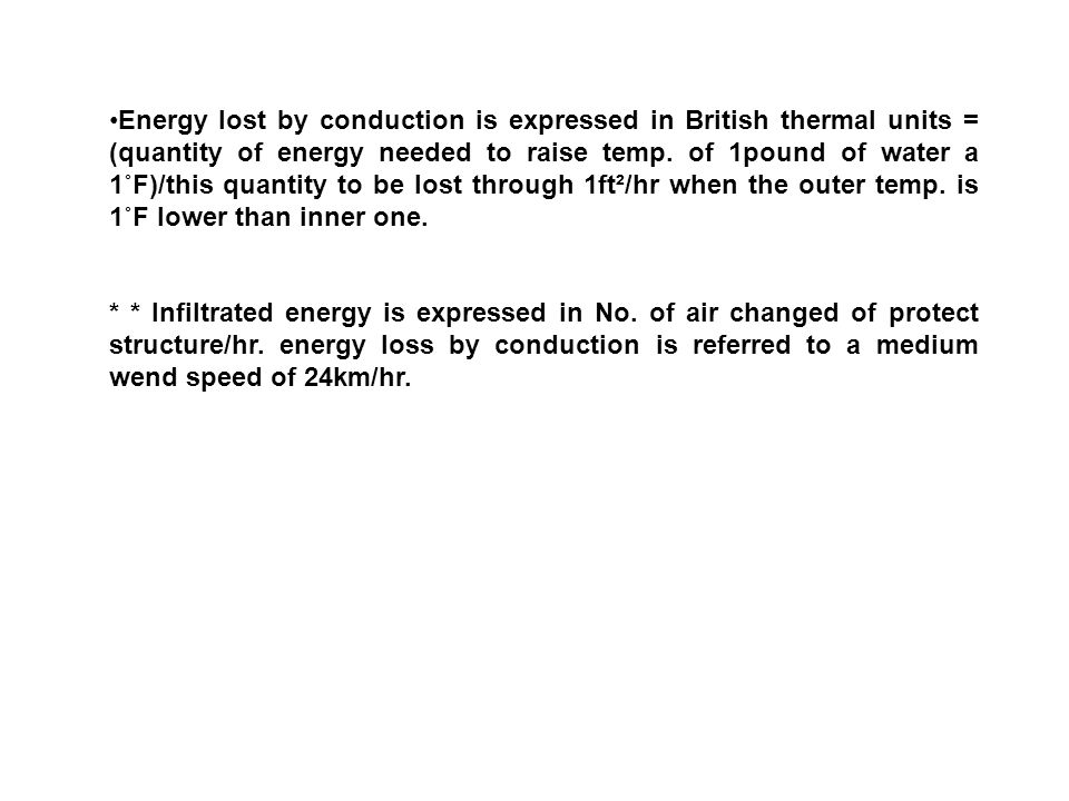 Energy lost by conduction is expressed in British thermal units = (quantity of energy needed to raise temp. of 1pound of water a 1˚F)/this quantity to be lost through 1ft²/hr when the outer temp. is 1˚F lower than inner one.