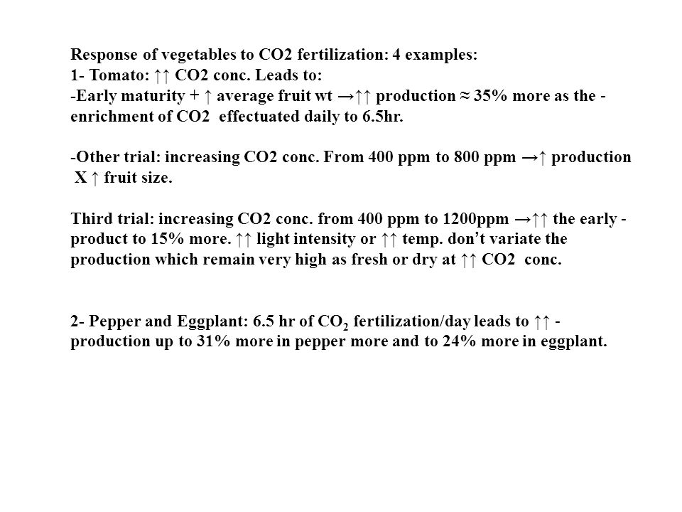 Response of vegetables to CO2 fertilization: 4 examples: