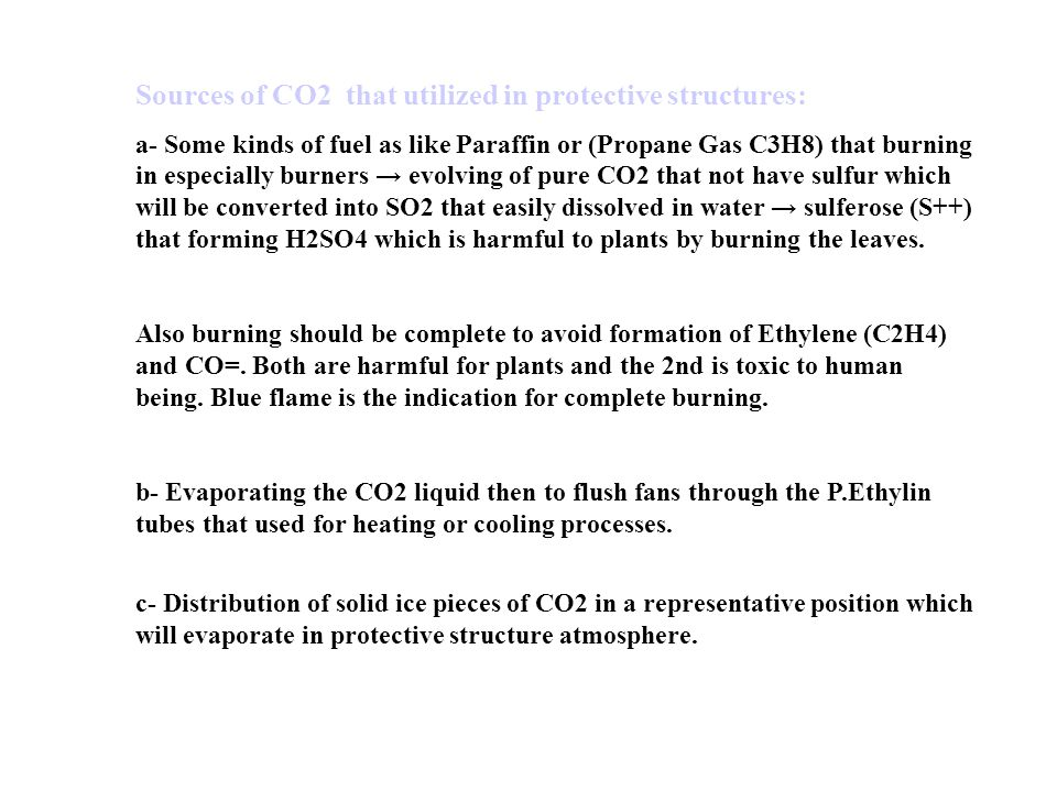 Sources of CO2 that utilized in protective structures: