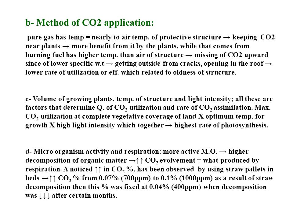 b- Method of CO2 application: