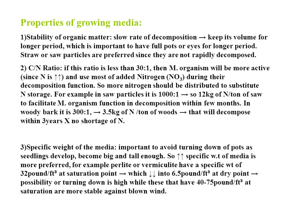 Properties of growing media: