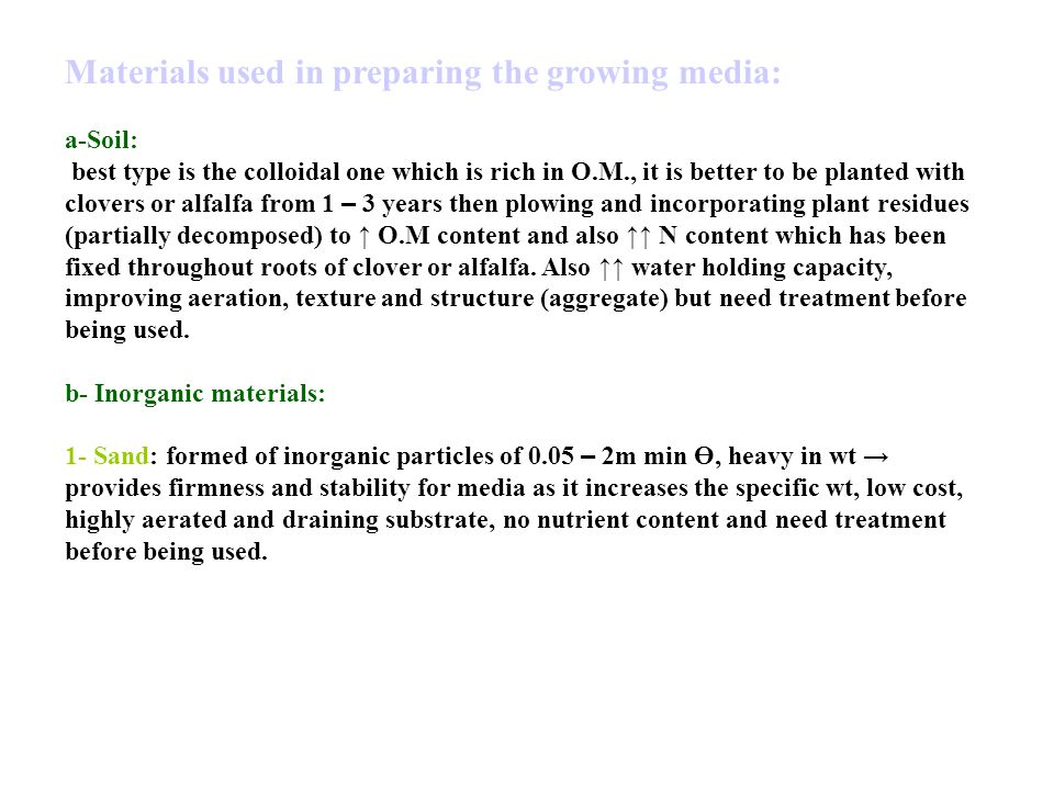 Materials used in preparing the growing media: