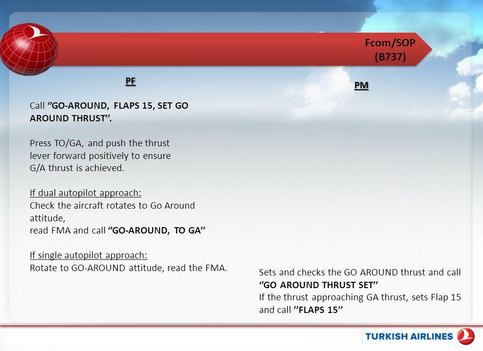 Fcom/SOP (B737) PF PM Call ''GO-AROUND, FLAPS 15, SET GO