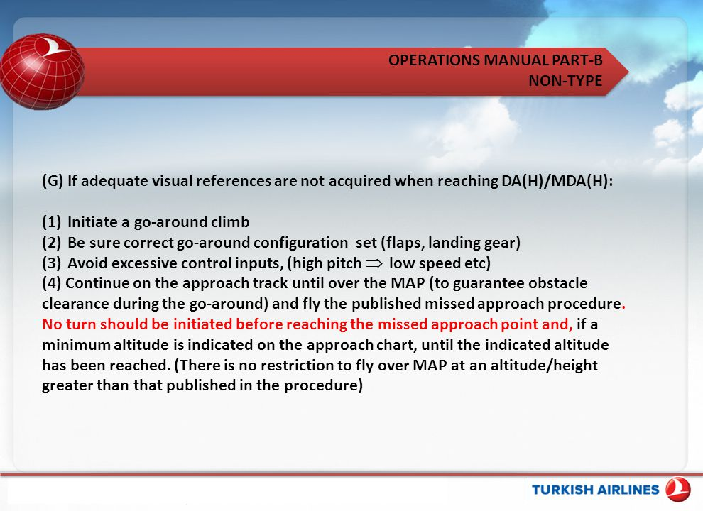 (G) If adequate visual references are not acquired when reaching DA(H)/MDA(H):