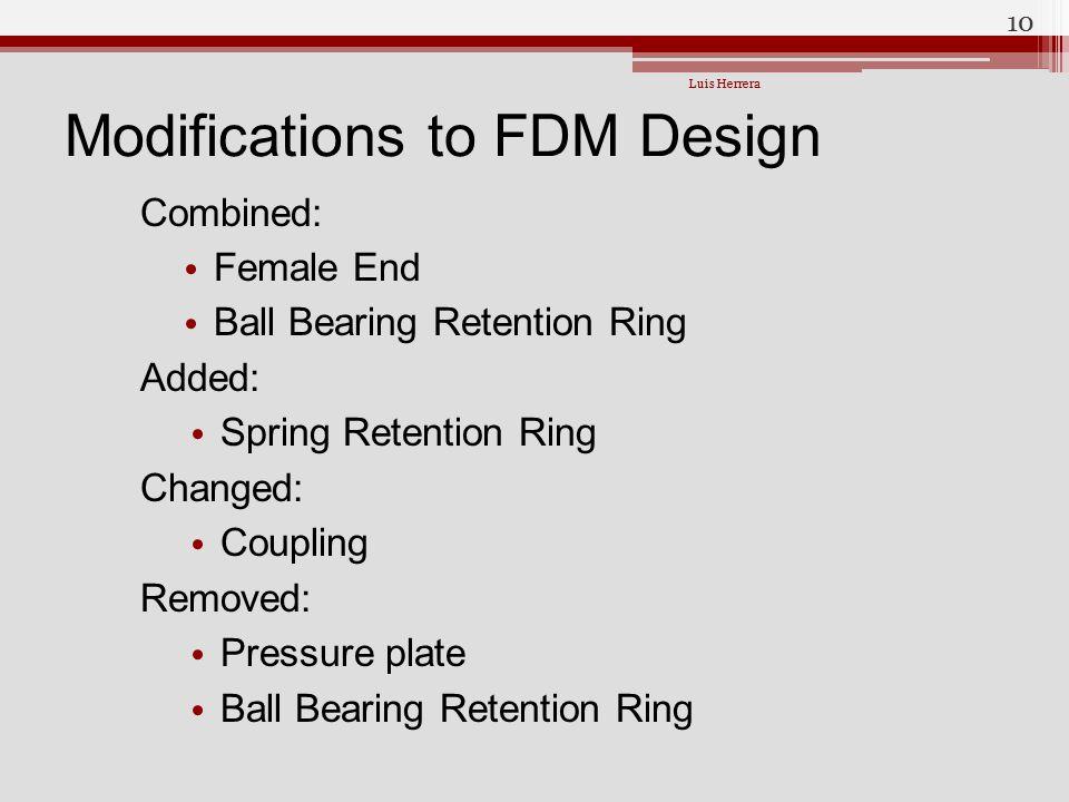 Modifications to FDM Design