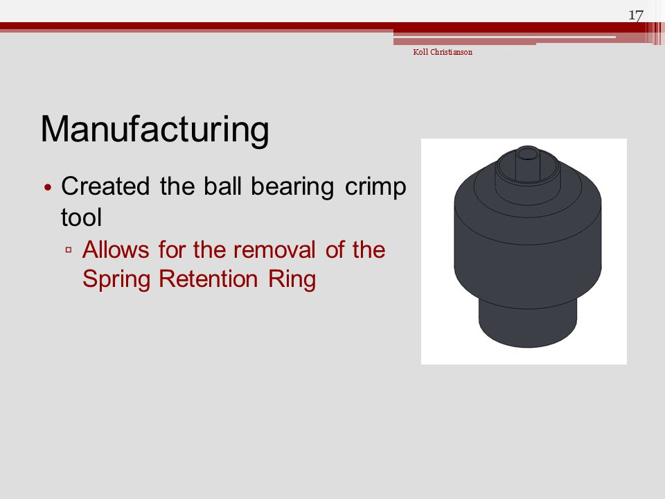 Manufacturing Created the ball bearing crimp tool
