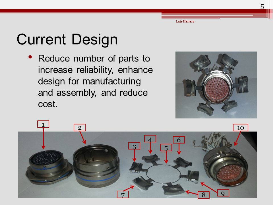 Luis Herrera Current Design. Reduce number of parts to increase reliability, enhance design for manufacturing and assembly, and reduce cost.