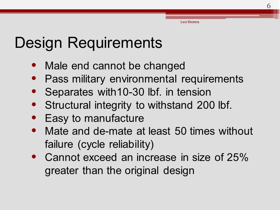 Design Requirements Male end cannot be changed