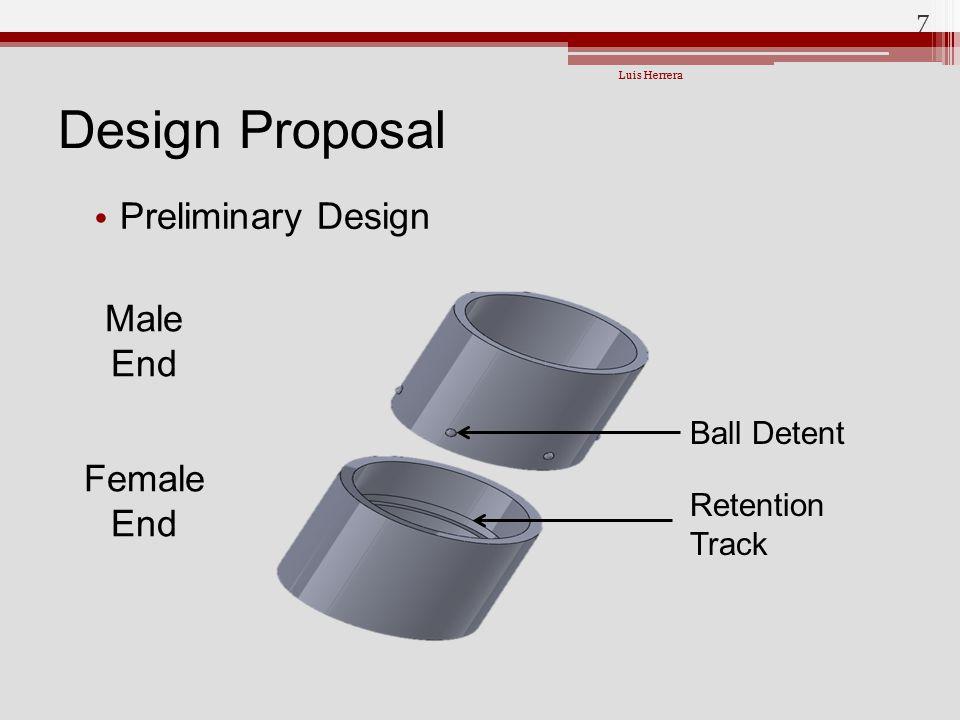 Design Proposal Preliminary Design Male End Female End Ball Detent