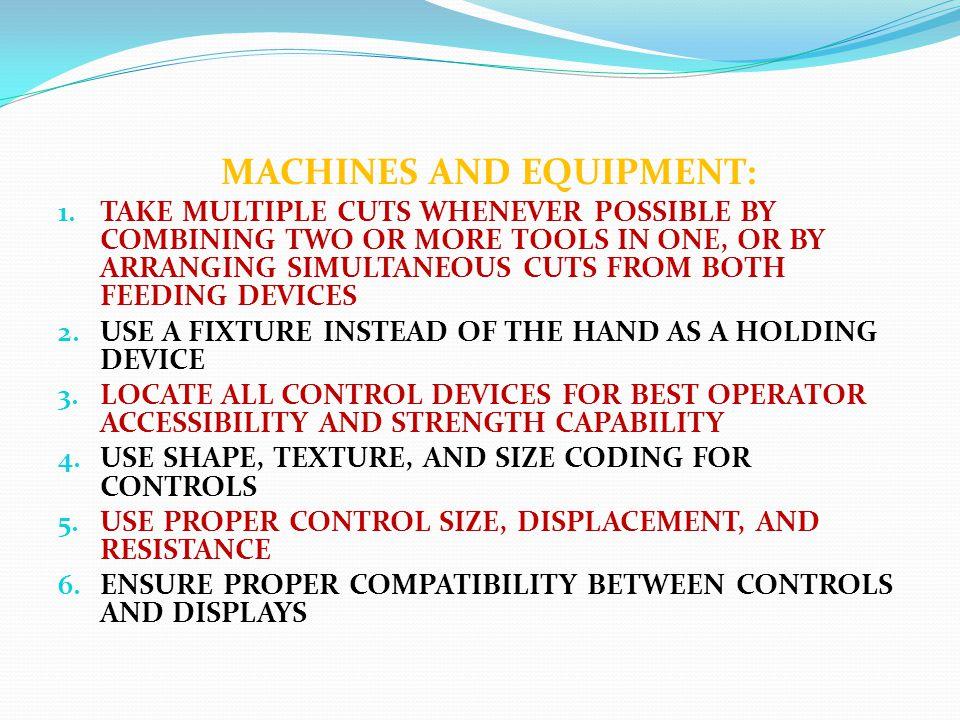 MACHINES AND EQUIPMENT: