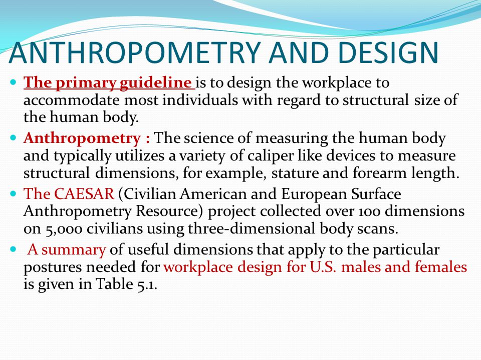 ANTHROPOMETRY AND DESIGN