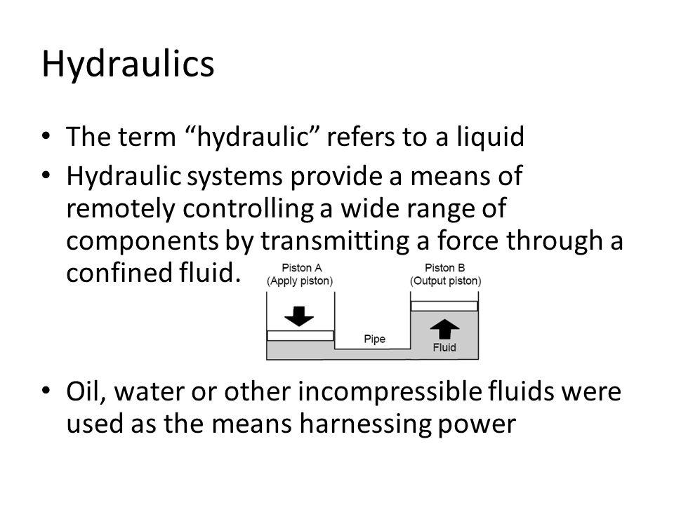 Hydraulics The term hydraulic refers to a liquid
