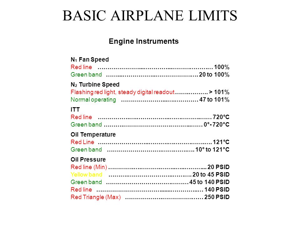 BASIC AIRPLANE LIMITS Engine Instruments N1 Fan Speed Red line