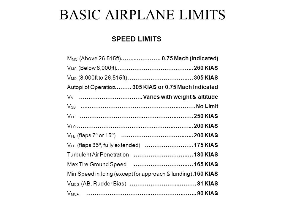 BASIC AIRPLANE LIMITS SPEED LIMITS MMO (Above 26,515ft)