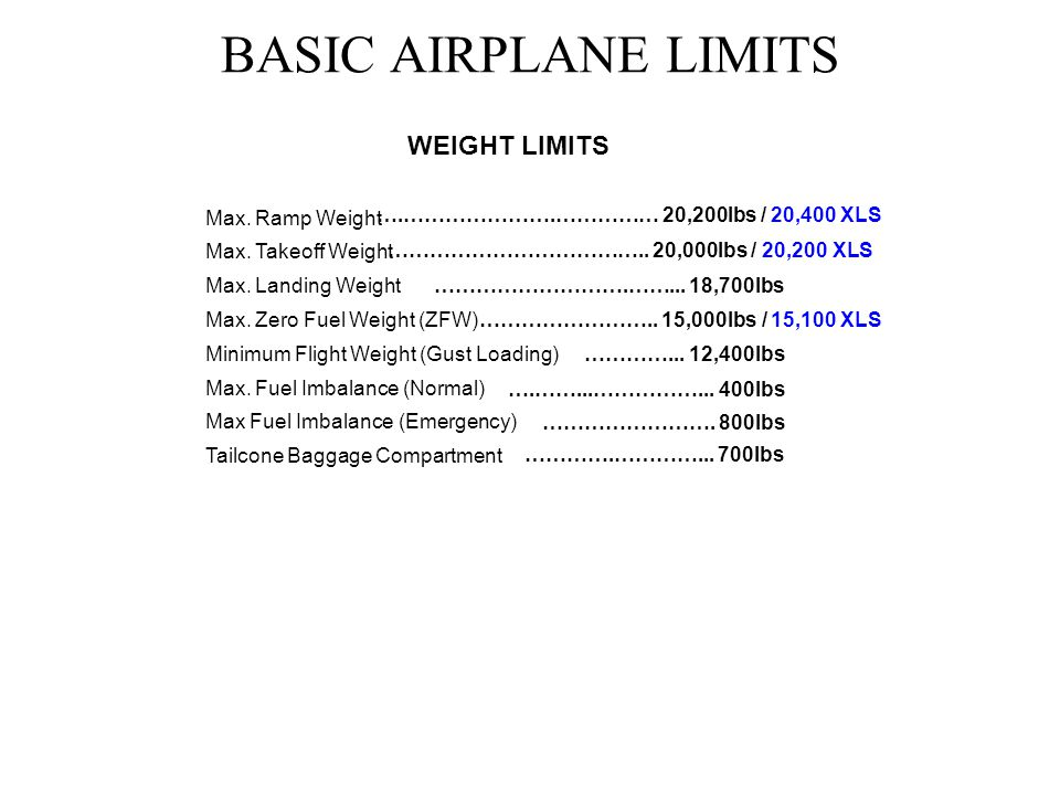 BASIC AIRPLANE LIMITS WEIGHT LIMITS Max. Ramp Weight