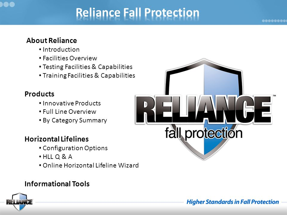 About Reliance Products Horizontal Lifelines Informational Tools