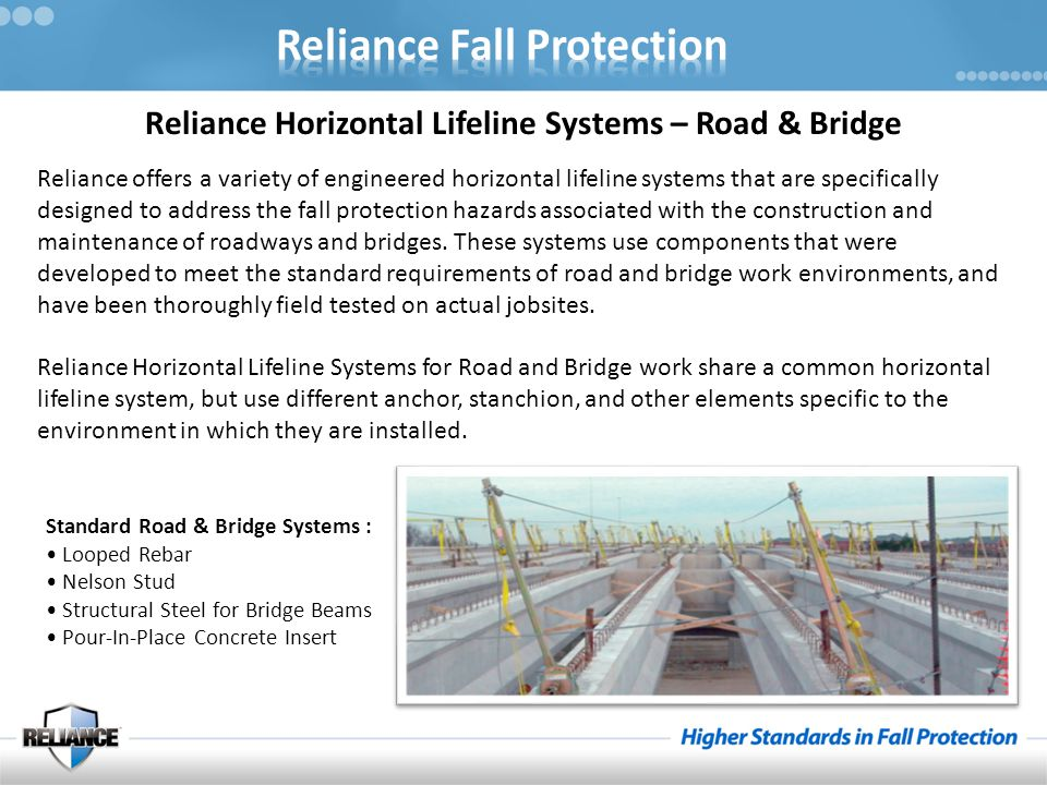 Reliance Horizontal Lifeline Systems – Road & Bridge