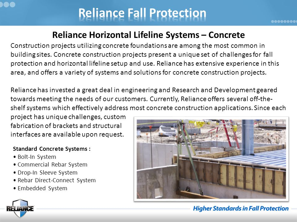 Reliance Horizontal Lifeline Systems – Concrete