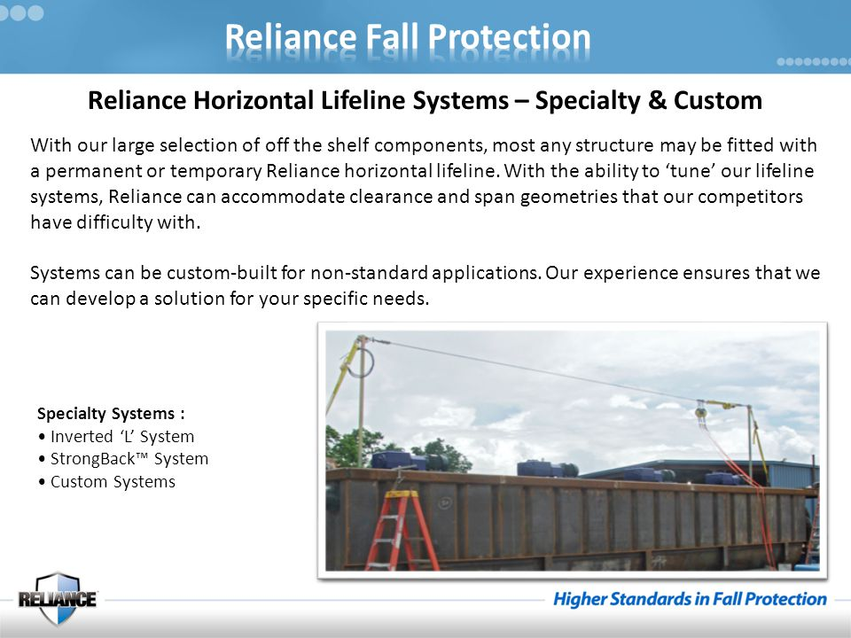 Reliance Horizontal Lifeline Systems – Specialty & Custom