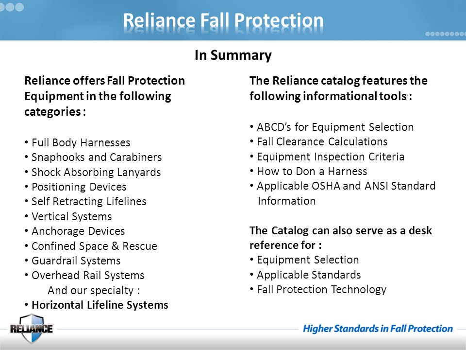 In Summary Reliance offers Fall Protection Equipment in the following categories : Full Body Harnesses.