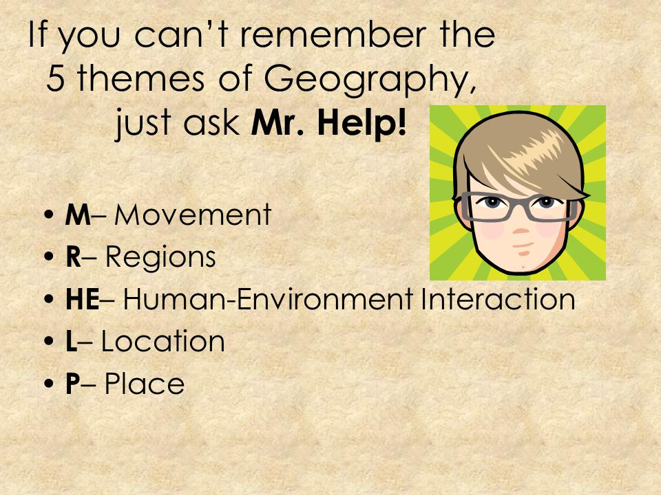 If you can't remember the 5 themes of Geography, just ask Mr. Help!