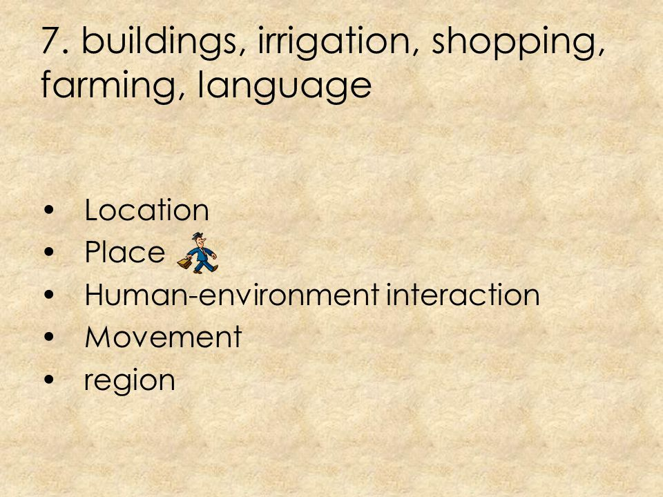 7. buildings, irrigation, shopping, farming, language