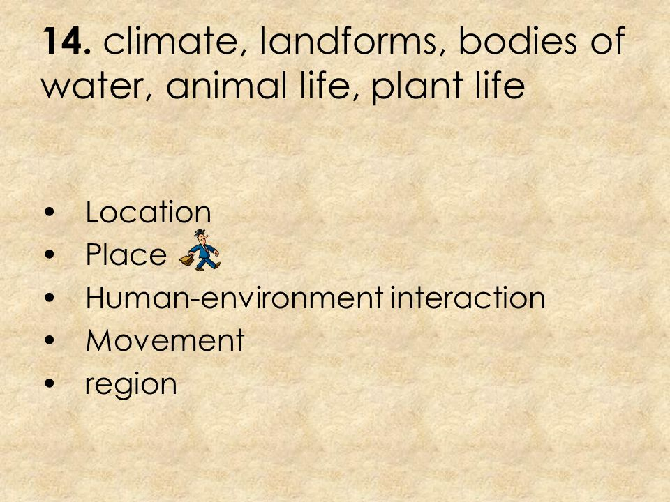14. climate, landforms, bodies of water, animal life, plant life
